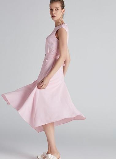Asimetrik Etekli Kemerli Midi Elbise-Ipekyol
